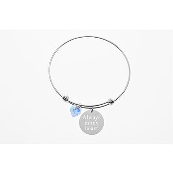 10 Grams Sterling Silver Inspirational Bangle Made With Swarovski By Pink Box