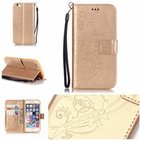 Luxury 3D Embossing Flower PU Leather Case for iPhone 6 6S 7 Plus 4 4S 5 5S SE 5C Flip Wallet Cases for iPhone 7Plus 6Plus Cover