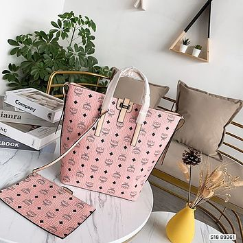 Mcm Hot Casual Full Printed Logo Lady Shopping Portable Two-piece Set Aslant Shoulder Bag High Quality
