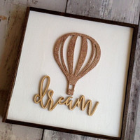 Hot Air Balloon Nursery, Baby Shower, Glitter, Dream Sign, Baby Sign,Kids Room, Nursery, 3D letters, laser cut sign, whimsical, Grad Gift
