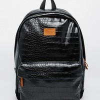 Vans Cameo Backpack in Shiny Black Faux Croc