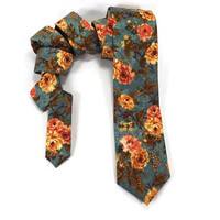 Turquoise Floral tie, coral and turquoise, skinny tie, vintage floral, rose necktie, coral floral bowtie, statement tie, large print floral