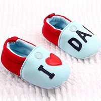 Lovely Toddler Baby Girl Boy Round Toe Flats Soft Slippers Shoes I Love MOM/DAD
