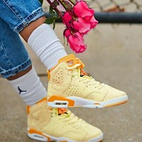 Onewel Air Jordan 6 GS Floral AJ6 Floral High top basketball Shoes Yellow Apricot