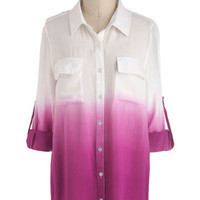 Live and Let Dip Dye Top in Red-Violet | Mod Retro Vintage Long Sleeve Shirts | ModCloth.com