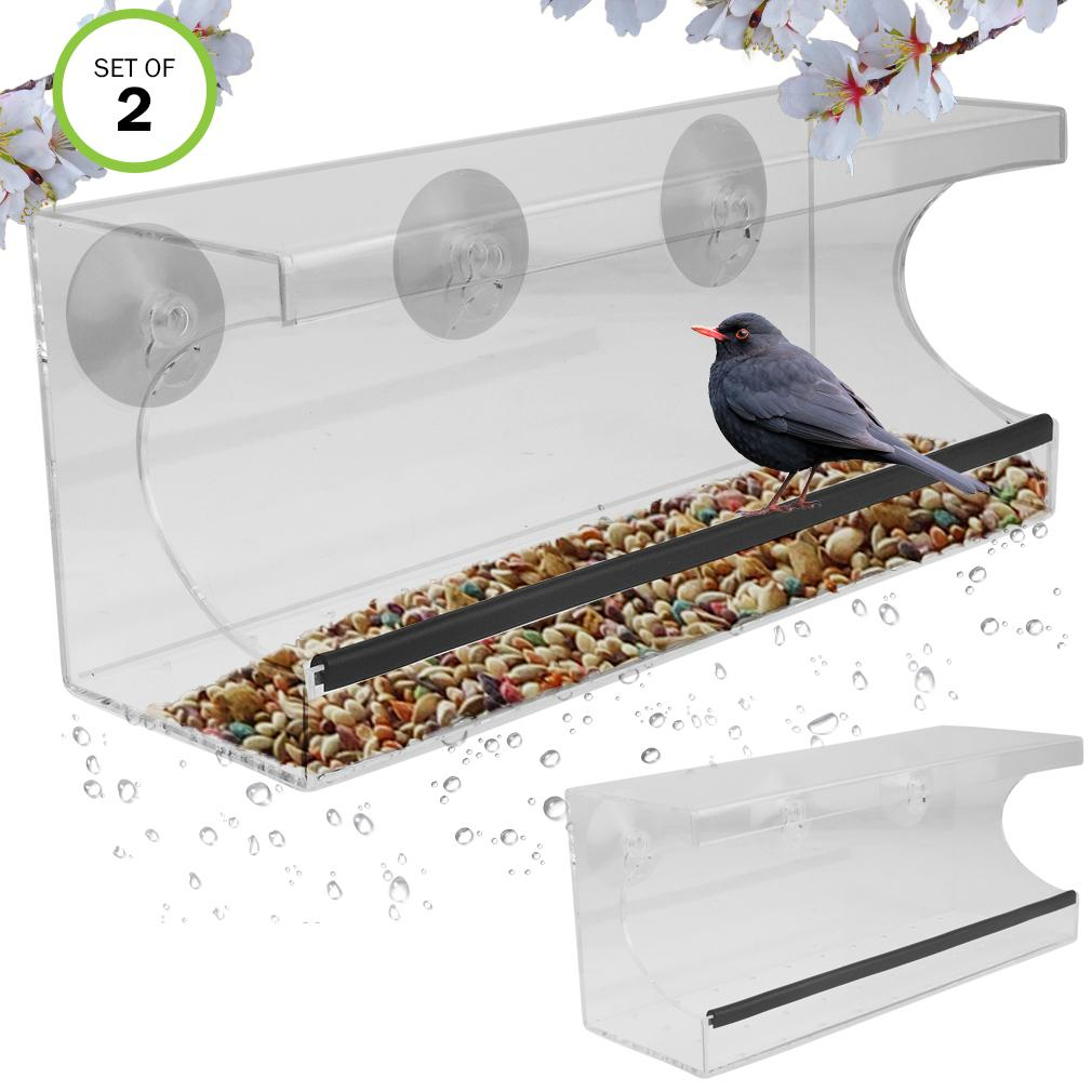 Evelots Window Bird Feeder With Drain From Evelots