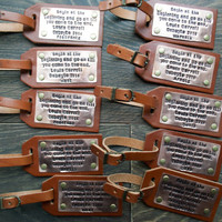 Personalized Leather Luggage Tag, Custom Leather Tag, Wedding Tags, Quotes Tags, Travel Gifts, Travel Accessories. Anniversary Gifts