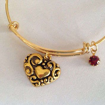 Gold Filigree Vintage Heart with Ruby Charm Adjustable Expandable Bangle Bracelet Gold Handmade Wire Bangle