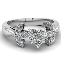AMAZING 4.35CT HEART SOLITAIRE STUD 925 STERLING SILVER ENGAGEMENT RING FOR HER