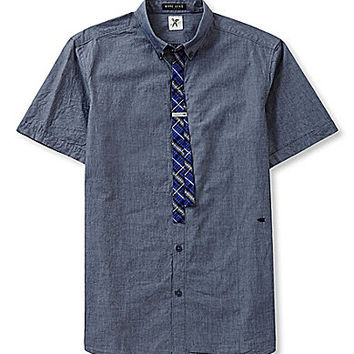 Marc Ecko Cut & Sew Short-Sleeve Darker Woven Shirt - Blue Night