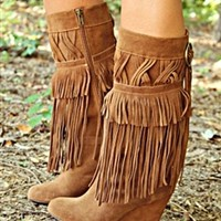 No Hurry Fringe Wedge Boots - Brown