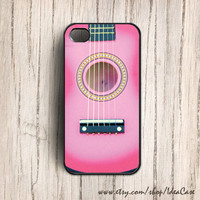 Acoustic Guitar Pink , iphone 4 or 4s case , iphone 5 case , Plastic Iphone Case , hard plastic case , guitar case