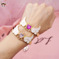 Gem love angel wings bracelet wrist strap sold by Harajuku fashion