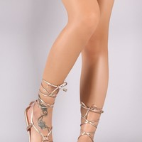 Liliana Metallic Lace-Up Gladiator Thong Flat Sandal