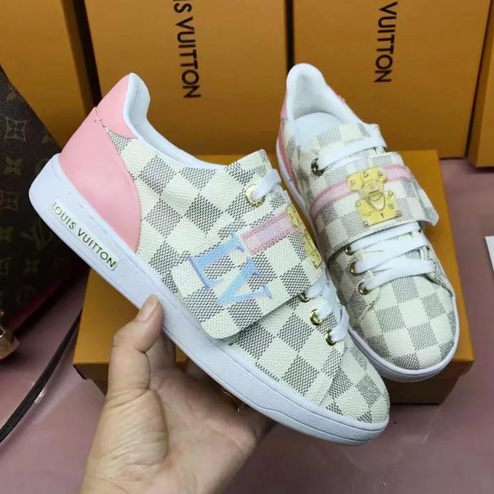 Image of LV Louis Vuitton Fashion Woman Personality Casual Flats Sport Shoes Sneakers White Plaid I-ALS-XZ