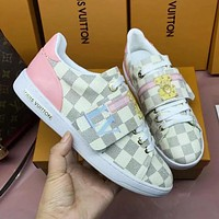 LV Louis Vuitton Fashion Woman Personality Casual Flats Sport Shoes Sneakers White Plaid I-ALS-XZ