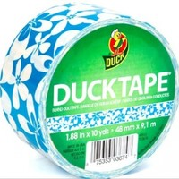 """Duck Brand Blue Surf Printed Duct Tape, 10 yards Length x 1-7/8"""" Width, White/Blue"""
