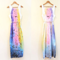 Splash Dyed Hand PAINTED Deep V Backless Reversible Jersey Maxi Dress in White Spectrum Rainbow - S M L