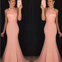 2017 Halter robe de soiree Pink Mermaid Prom Dresses Appliques Long Evening Dress Sexy For Graduation Party Gowns M2874