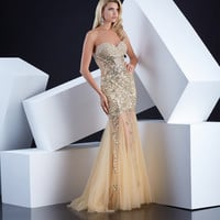Gold Strapless Beaded & Embellished Mermaid Gown
