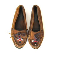 Vintage Brown Suede Loafers / Deck Shoes / Minnetonka Moccasins with Phoenix bird beading / women's size 9
