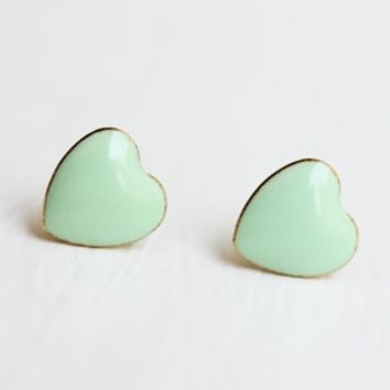Mint Green Heart Studs