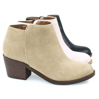 MugIIS Girl's Mug Round Toe Stacked Heel Ankle Boot