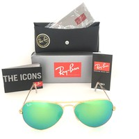 Cheap New Aviator Ray Ban RB3025 112/19 58mm Green Flash Mirror Lens Matte Gold Frame outlet