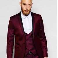 Brand New Groomsmen Notch Lapel Groom Tuxedos Burgundy Jacket Men Suits Wedding Best Man Blazer (Jacket+Pants+Tie+Vest) B987