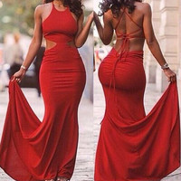 Red Halter Bodycon Maxi Dress