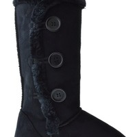SN03 Womens Button Shearling Boots Black