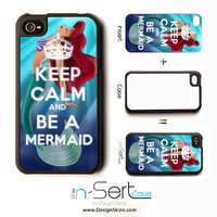 NEW Keep Calm & Be a Mermaid 2 n-Sert iPhone 4, 4s, 5 Case with Changeable Inserts