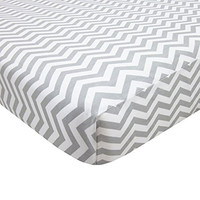 American Baby Company 100% Cotton Percale Fitted Portable/Mini Crib Sheet, Zigzag Grey