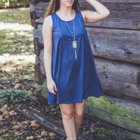 All Lined Up Dress in Blue