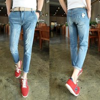 Summer Ripped Holes Korean Slim Stretch Pencil Pants Jeans [6541744835]
