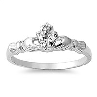 925 Sterling Silver CZ Benediction of the Claddagh Ring 7MM