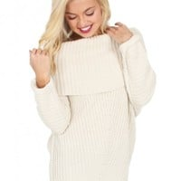 My Way Cable Knit Sweater in Cream   Monday Dress Boutique