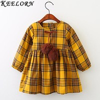 Girls Dress Autumn Winter Girl Clothes Plaid Fur Ball Bow Design Baby Girls Dress Girls Casual Dresses Kids
