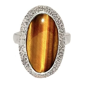 Tigers Eye Sterling Silver Oval Ring