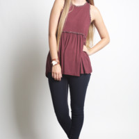 POL Burgundy Flower String Top