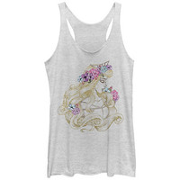 Disney Shimmering Sleeping Beauty White Juniors Tank Top