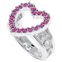 ROCAWEAR Pink Austrian Crystal HOLLOW HEART Silver Tone Ring