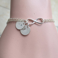Infinity initials bracelet, personalized bracelet, Personalized monogram jewelry Gift for couples his hers bracelet, bridesmaid Gift for her