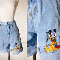 Vintage Disney Shorts | High Waisted Shorts Denim Shorts Jean Shorts Mickey Mouse Denim Shorts Festival Shorts Boho 80s shorts 90s shorts
