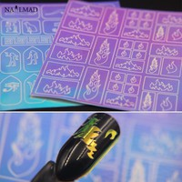 1 sheet Chameleon Nail Vinyls Fire Nail Stencils Nail Art Stencil Stickers 3D Adhesive Stickers