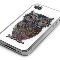 Transparent Snap-on Iphone Cover Case for 4/4s Iphone - Owl Design in White Background