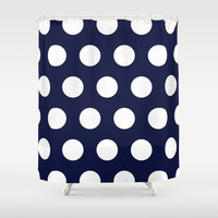 Navy Dots Shower Curtain by Ashley Hillman