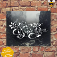 """Count Your Many Blessings - Digital Printable Christian Lyric Hymn Wall Art Decor Poster 8""""x10"""""""