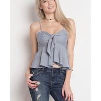 Dreamers - Stripe Tie-Front Tank Top in Blue