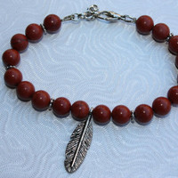 Red Jasper  Beaded Bracelet With Silver Feather - Red Jasper Bracelet - Feather Bracelet - Beaded Bracelet - Red And Silver - Gift For Her